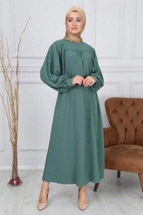 Kadın Zümrüt Yeşili Kemerli Elbise IZG497