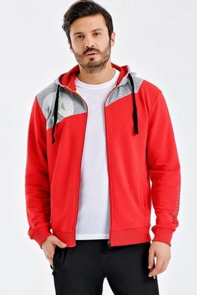 Kempa Erkek Kırmızı Pamuklu Kapşonlu Sweatshirt 1