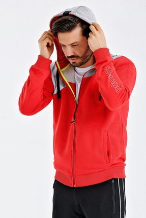 Kempa Erkek Kırmızı Pamuklu Kapşonlu Sweatshirt 2