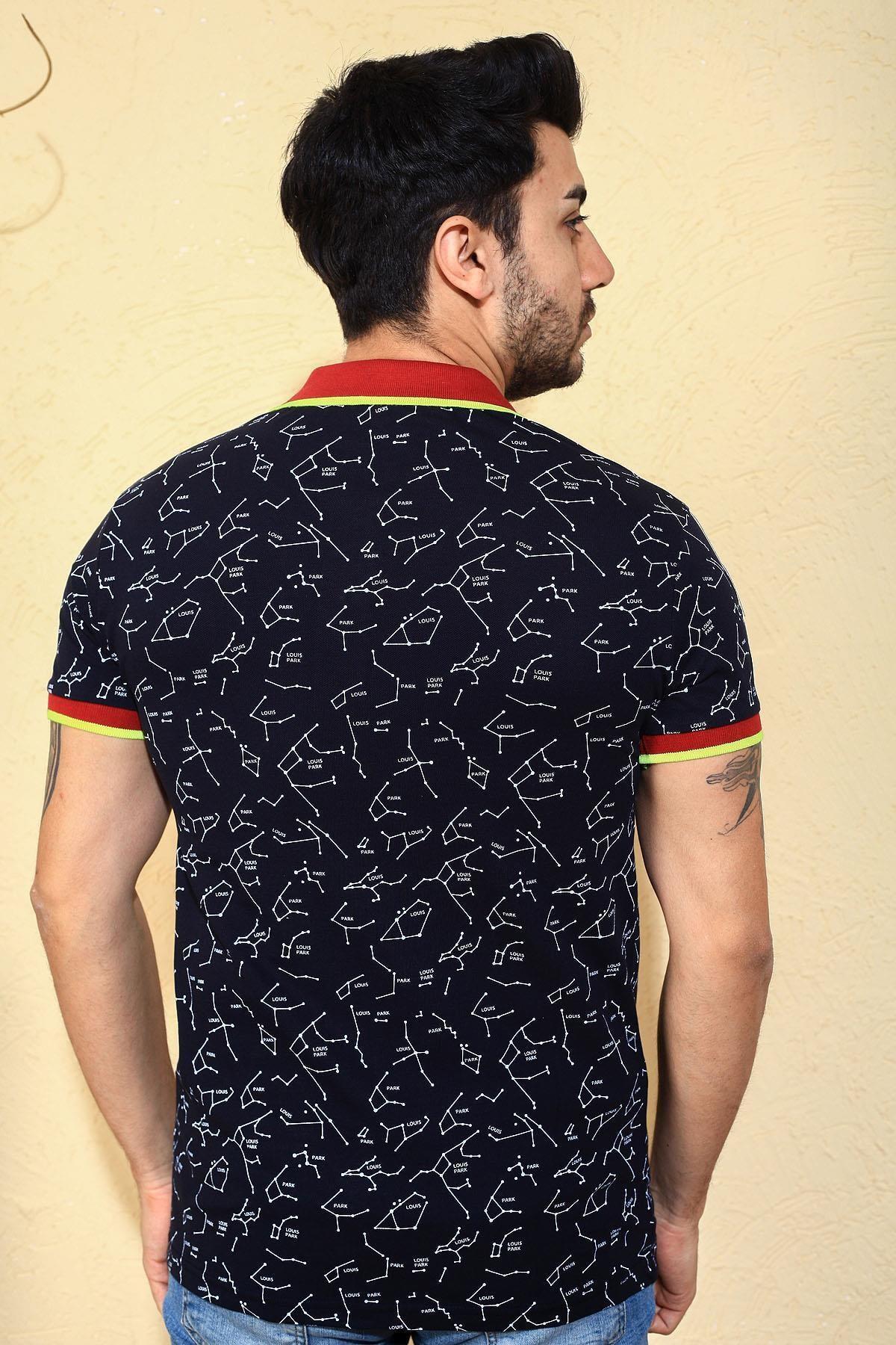 Oksit Louis Ly188  Pamuklu Slim Fit Likralı Erkek Polo Yaka Tshirt 2