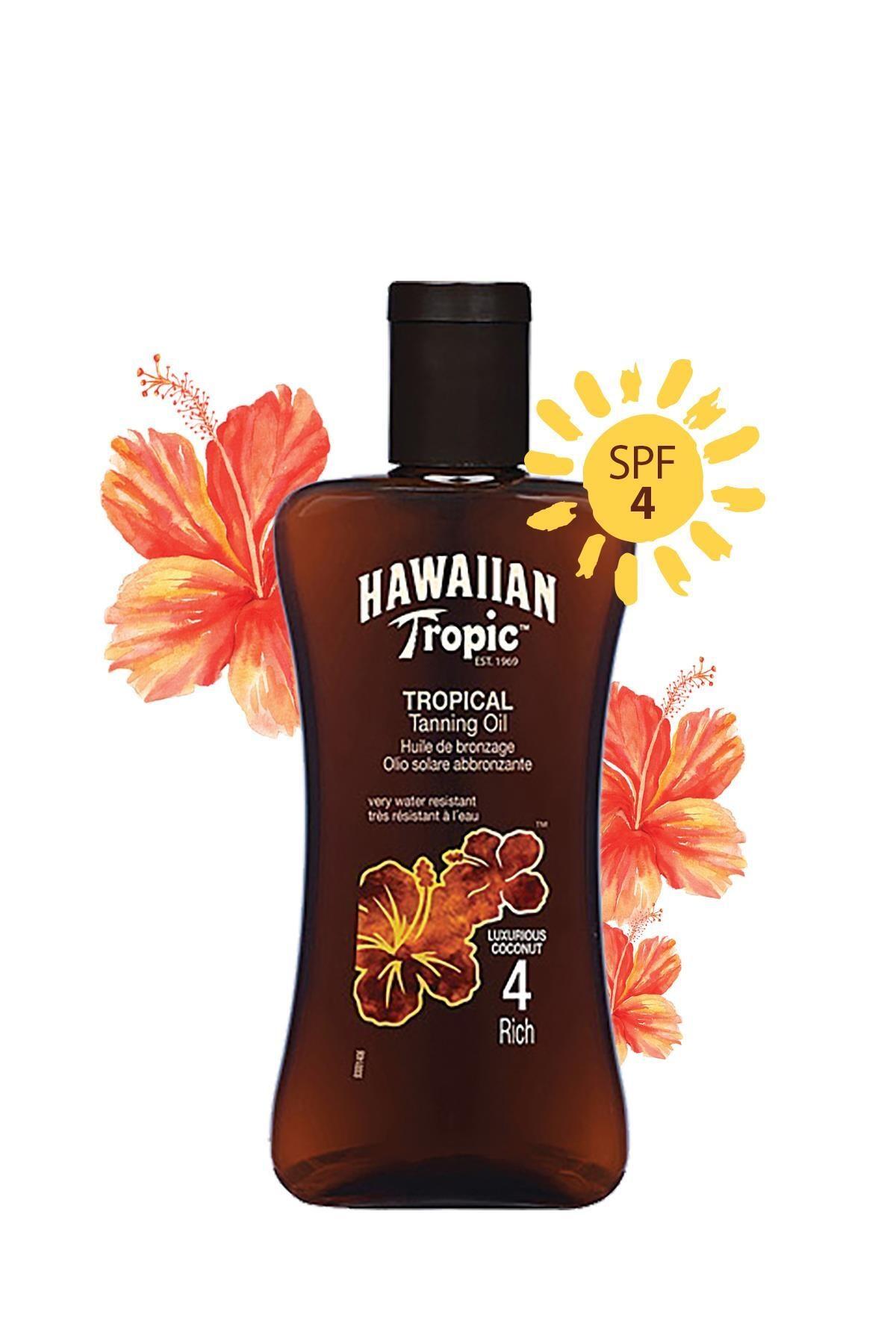 Hawaiian Tropic Hindistan Cevizi, Egzotik Tropikal Çiçekler İçeren Koruyucu Ve Bronzlaştırıcı Yağ Spf 4 2