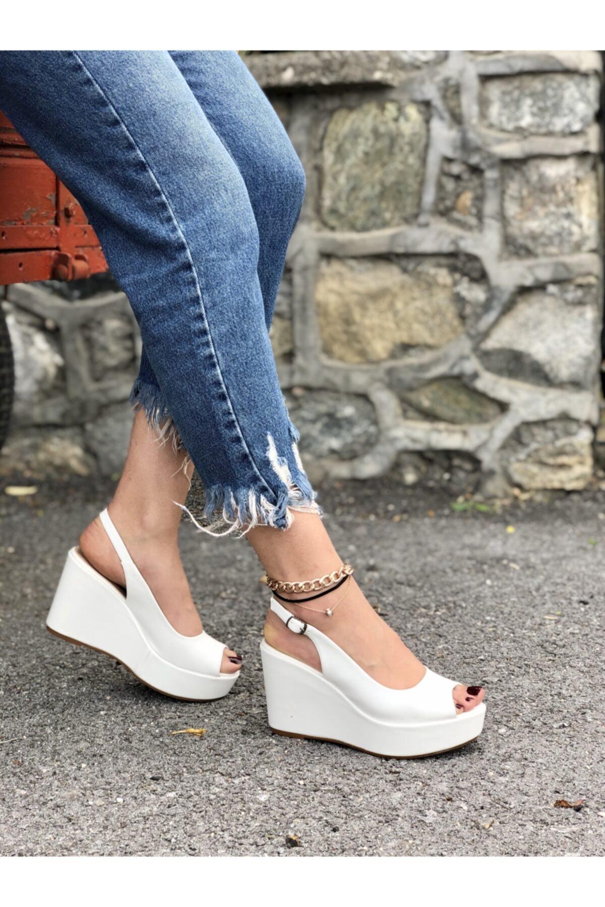 Beyaz Kadın Dolgu Topuklu Ayakkabı Relleno