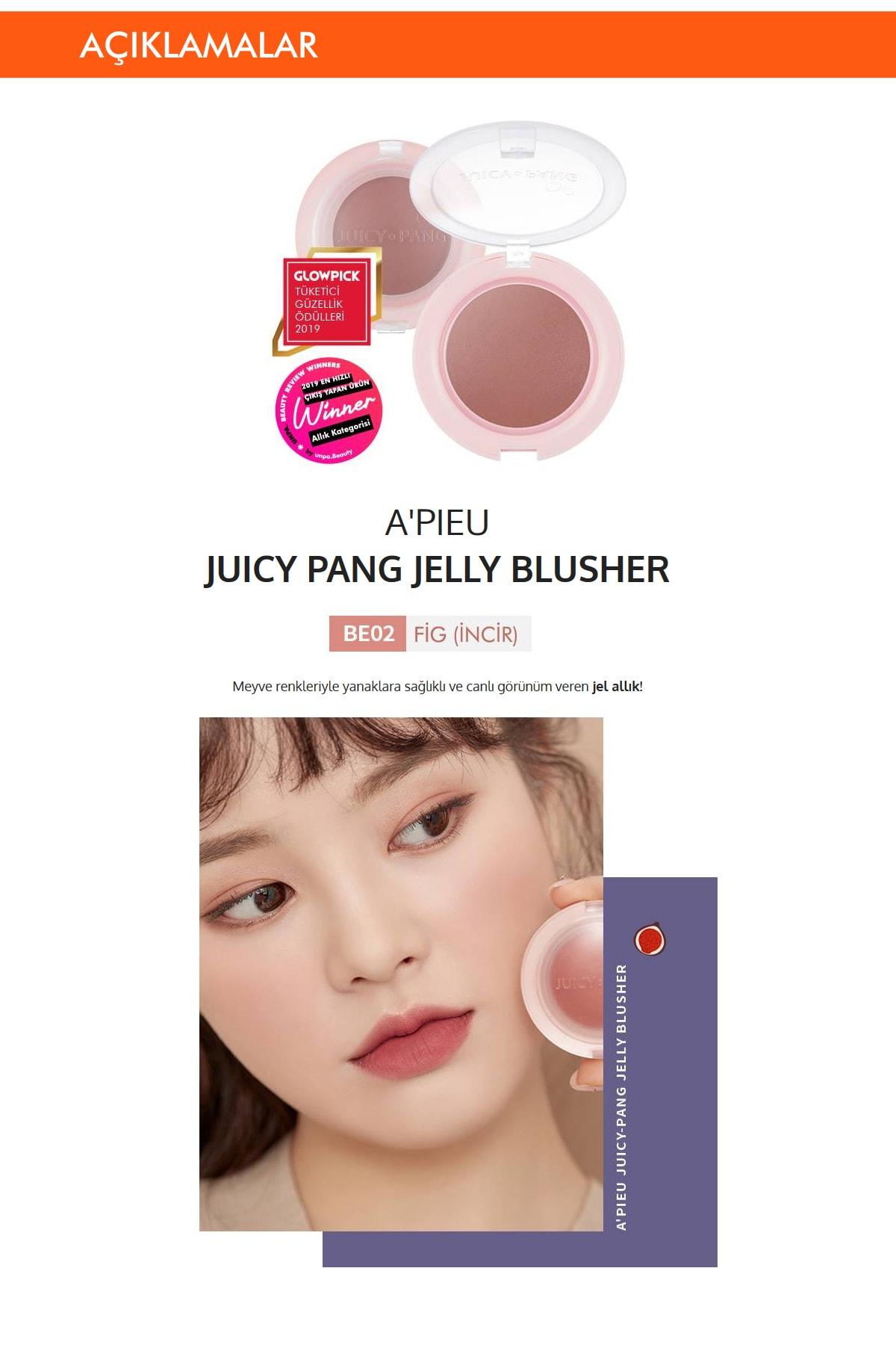 Missha Meyve Tonlarında Doğal Görünümlü Jel Allık APIEU Juicy-Pang Jelly Blusher (BE02) 1