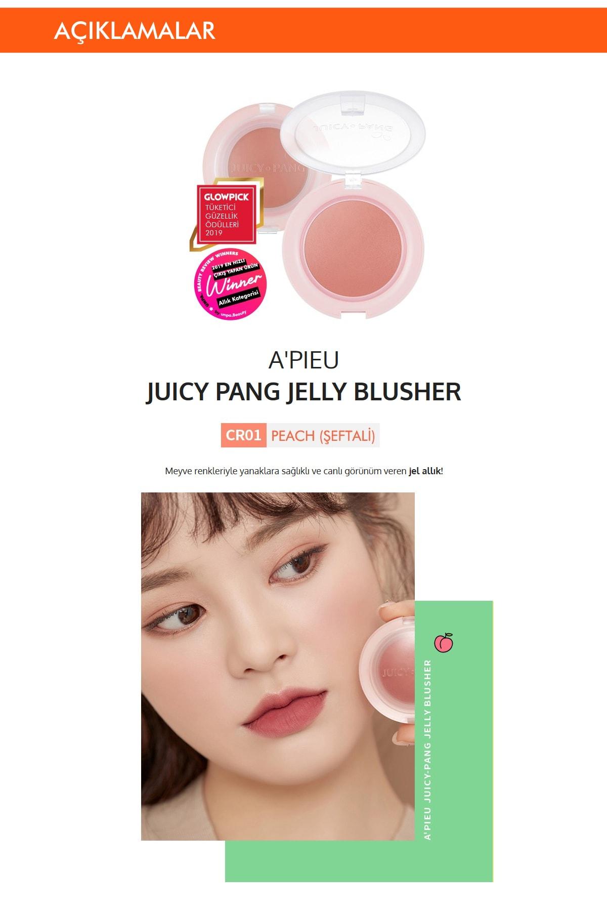 Missha Meyve Tonlarında Doğal Görünümlü Jel Allık APIEU Juicy-Pang Jelly Blusher (CR01) 1