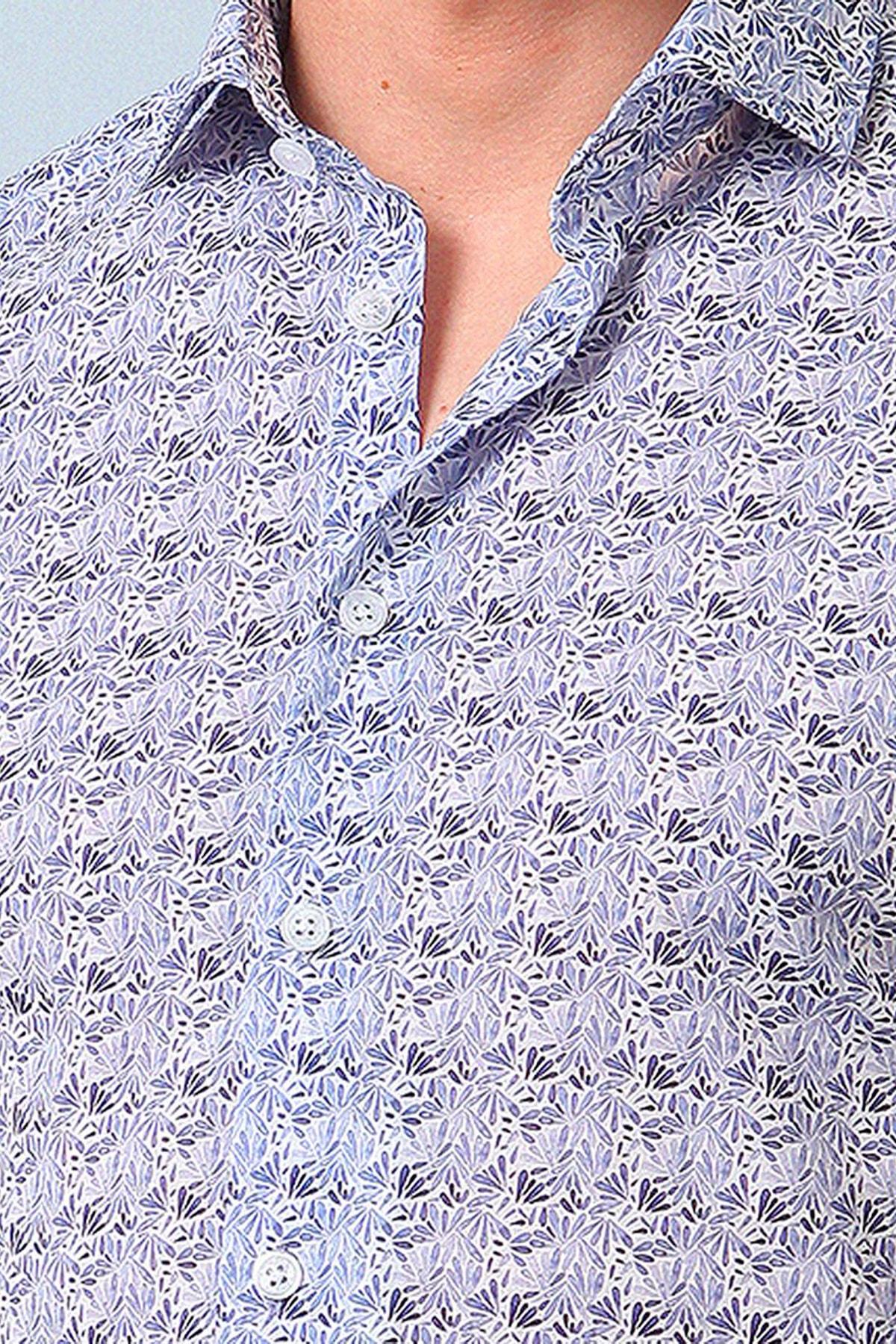Ramsey Erkek Lacivert Baskılı Dokuma Uzun Kollu Gömlek RP10119058
