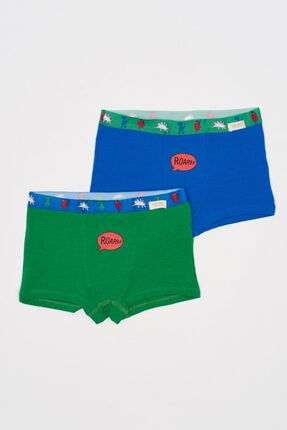 Picture of 2'li Dinazor Erkek Çocuk Boxer Seti - Yeşil /Mavi