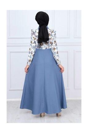 Modamihram Kolları Fırfır Detaylı Tesettür Elbise Bebe Mavisi 3