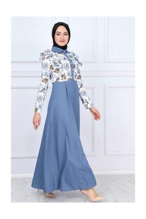 Modamihram Kolları Fırfır Detaylı Tesettür Elbise Bebe Mavisi 4