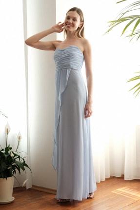 TRENDYOLMİLLA Mavi Omuz Detaylı Abiye & Mezuniyet Elbisesi TPRSS20AE0260 1