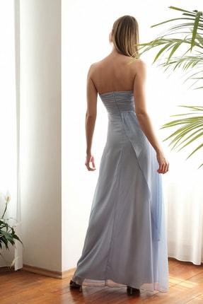 TRENDYOLMİLLA Mavi Omuz Detaylı Abiye & Mezuniyet Elbisesi TPRSS20AE0260 3