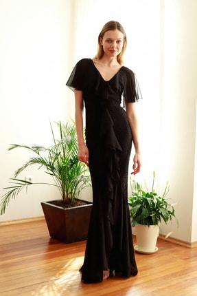TRENDYOLMİLLA Siyah Volan Detaylı  Abiye & Mezuniyet Elbisesi TPRSS20AE0307 2