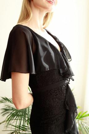 TRENDYOLMİLLA Siyah Volan Detaylı  Abiye & Mezuniyet Elbisesi TPRSS20AE0307 3