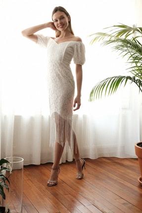 TRENDYOLMİLLA Ekru Püskül Detaylı  Elbise TPRSS20EL2859 1