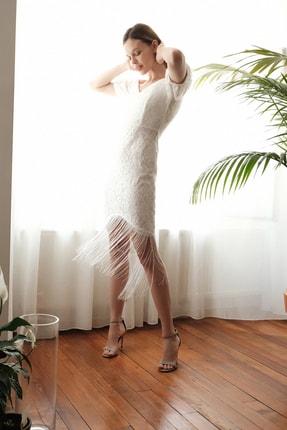 TRENDYOLMİLLA Ekru Püskül Detaylı  Elbise TPRSS20EL2859 2