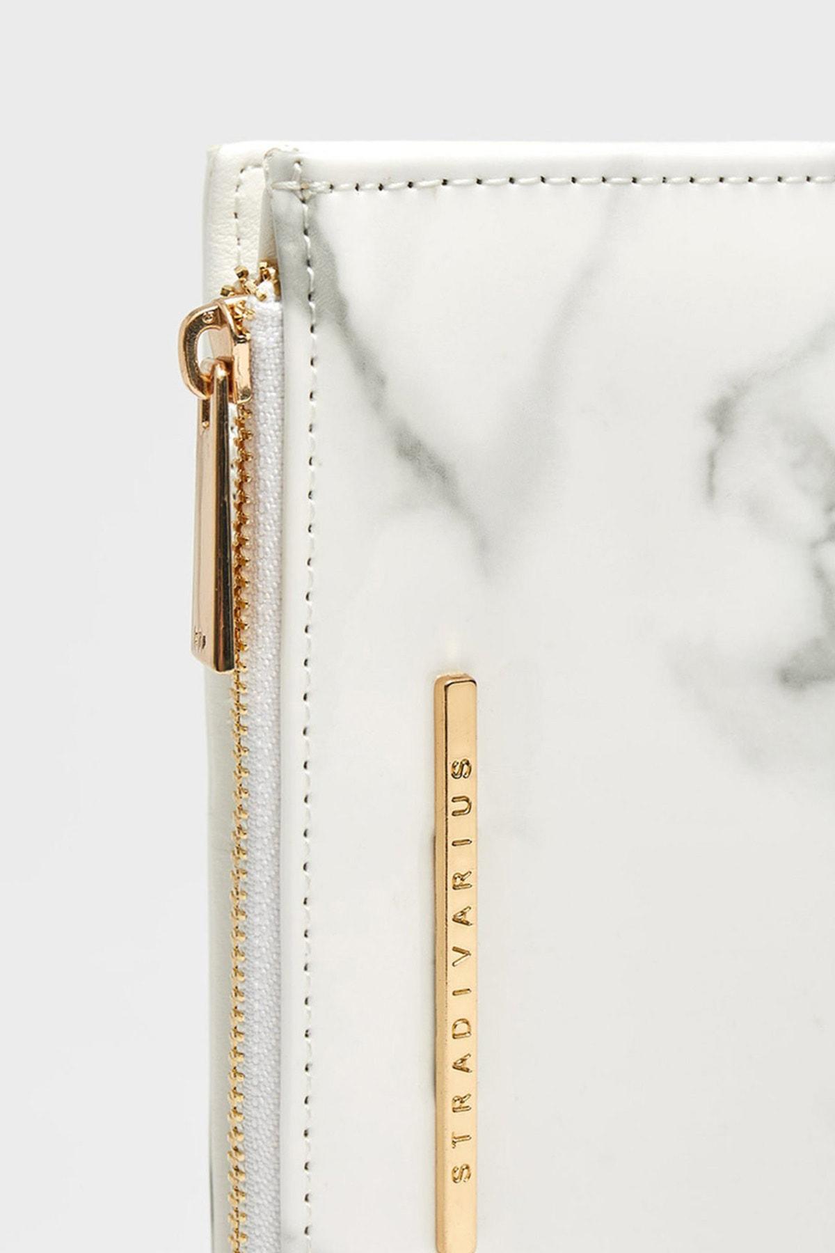 Stradivarius Kadın Beyaz Mermer Görünümlü Basic Cüzdan 00859062 3