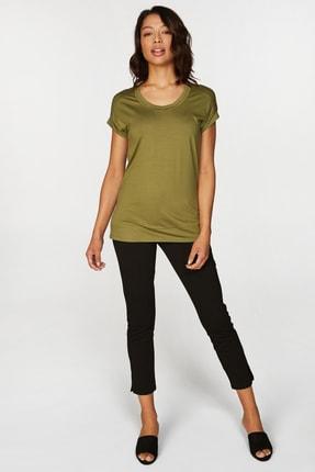 Faik Sönmez Kadın Yeşil Basic T-shirt 38018 U38018 1