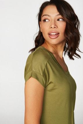 Faik Sönmez Kadın Yeşil Basic T-shirt 38018 U38018 2