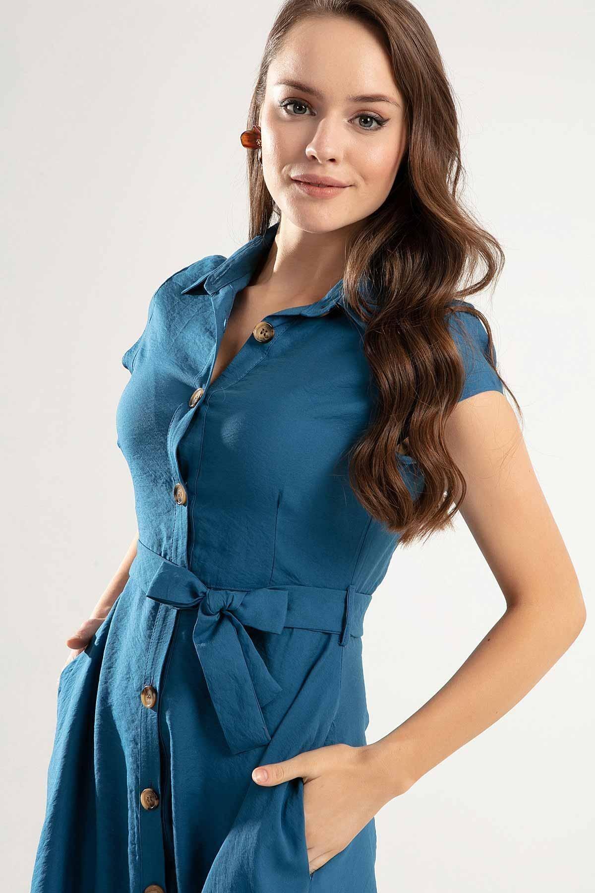 Y-London Kadın Kuşaklı Kısa Kollu Kloş Gömlek Elbise Y20s110-1677 2