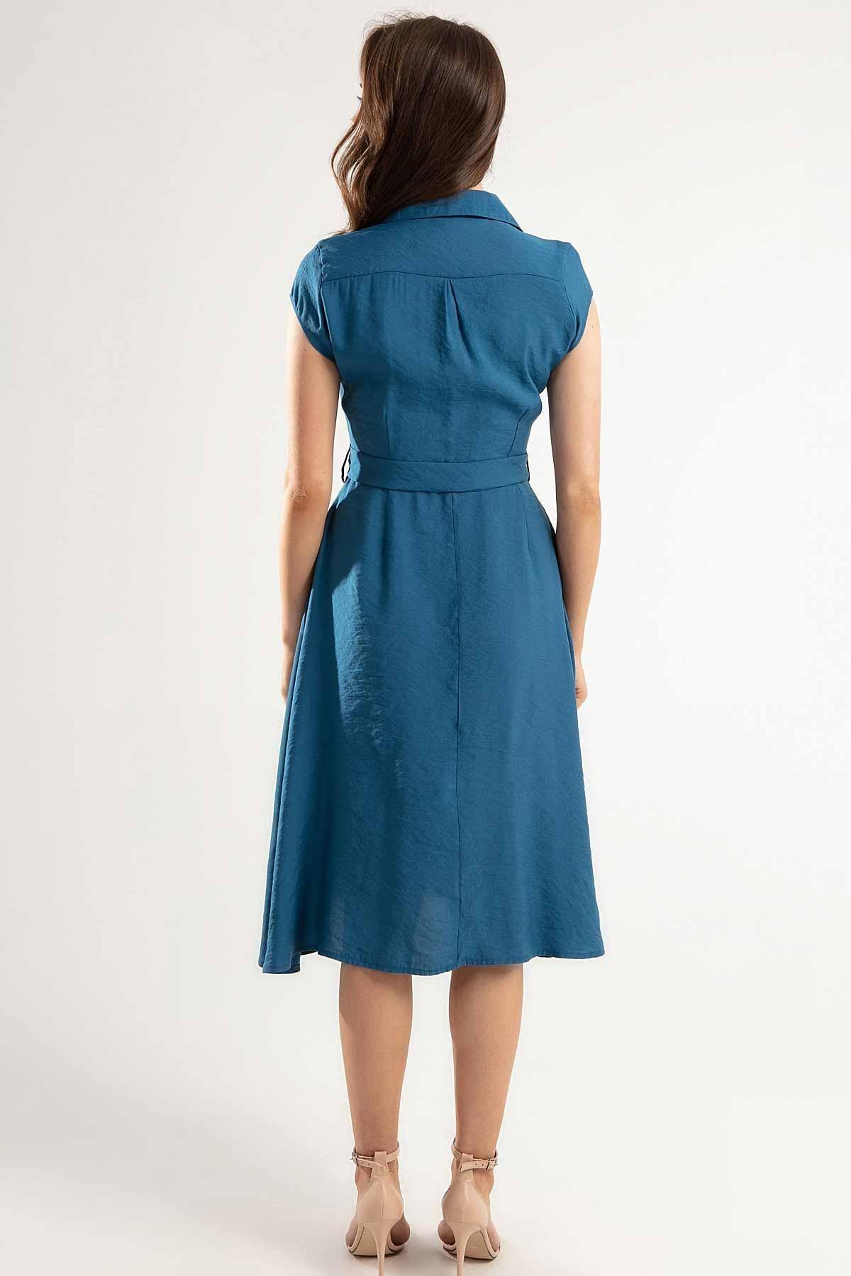 Y-London Kadın Kuşaklı Kısa Kollu Kloş Gömlek Elbise Y20s110-1677 3