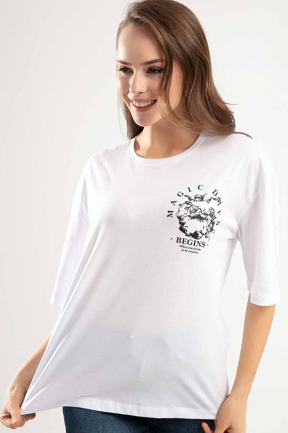 Pattaya Kadın Beyaz Melek Baskılı Bisiklet Yaka Tişört PTTY20S-4220 1