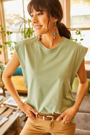 Olalook Kadın Mint Koltuk Altı Parçalı Yarasa T-shirt TSH-19000330 4