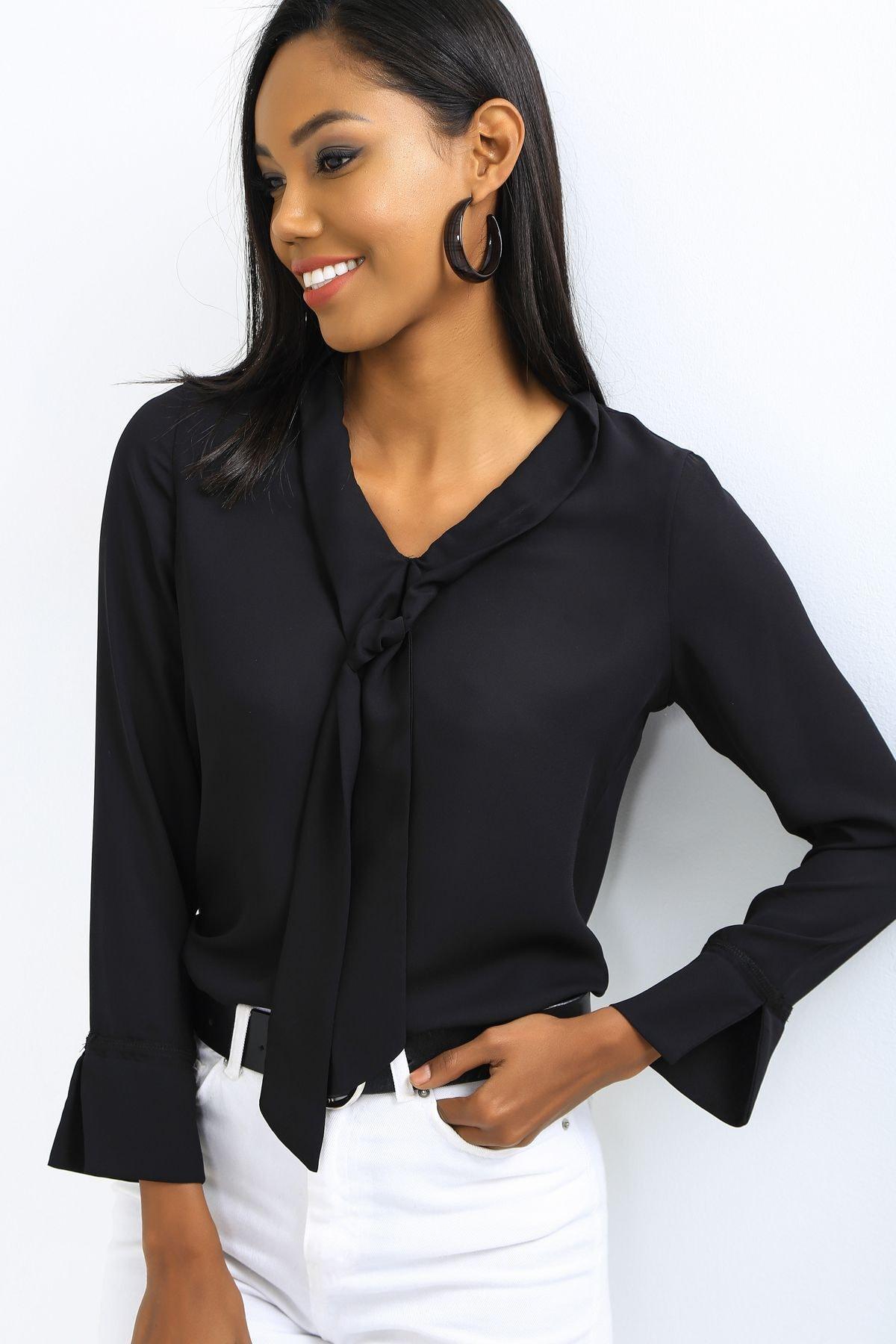 EMJEY Kadın Siyah Önü Bağlamalı Kolları Manşetli Gömlek She020B010059 0