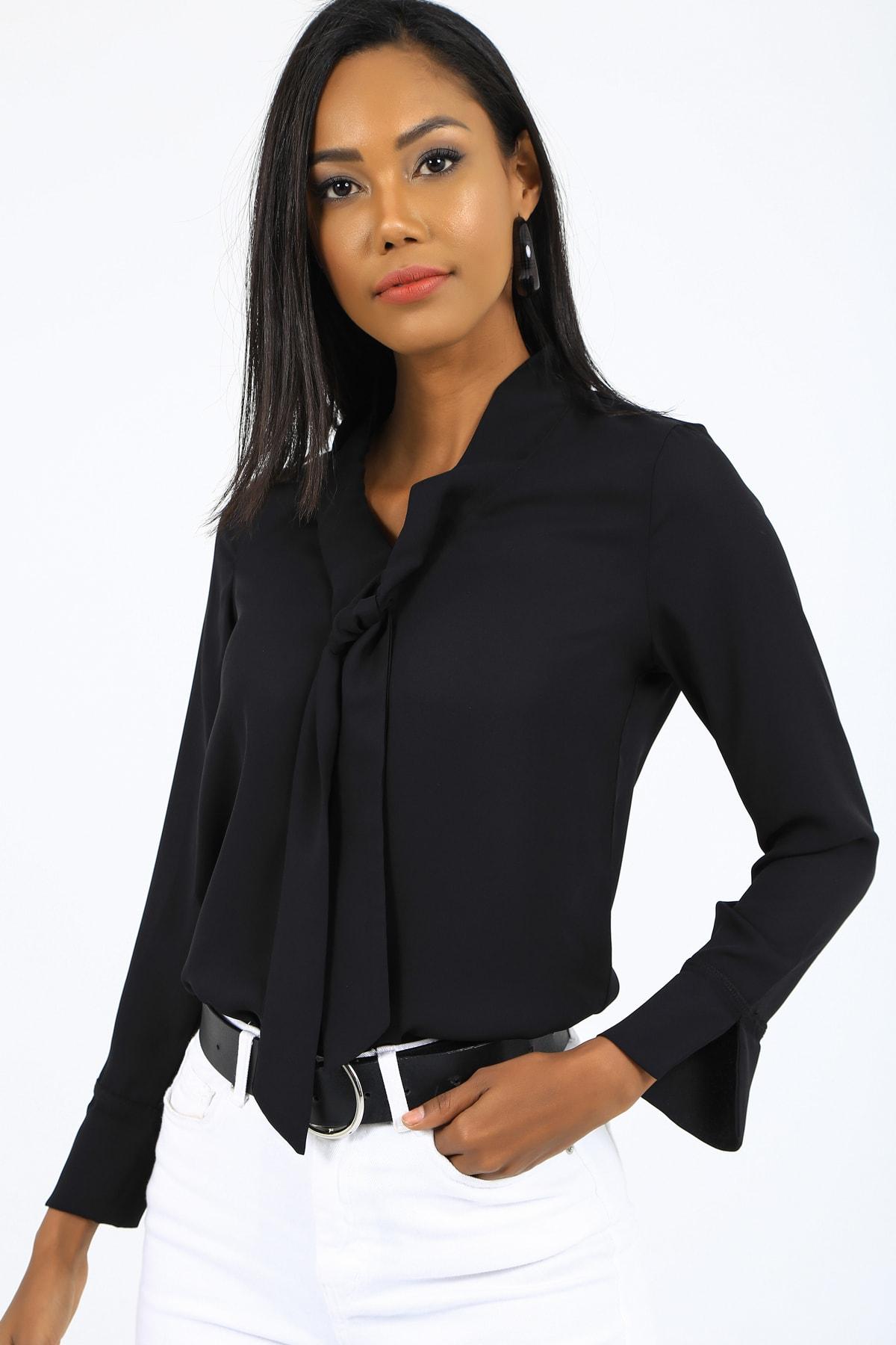 EMJEY Kadın Siyah Önü Bağlamalı Kolları Manşetli Gömlek She020B010059 2