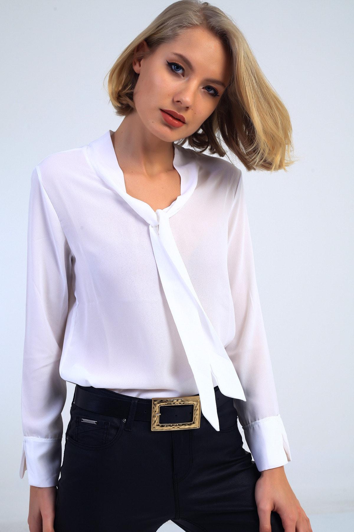 EMJEY Kadın Beyaz Önü Bağlamalı Kolları Manşetli Gömlek She020B010059 4
