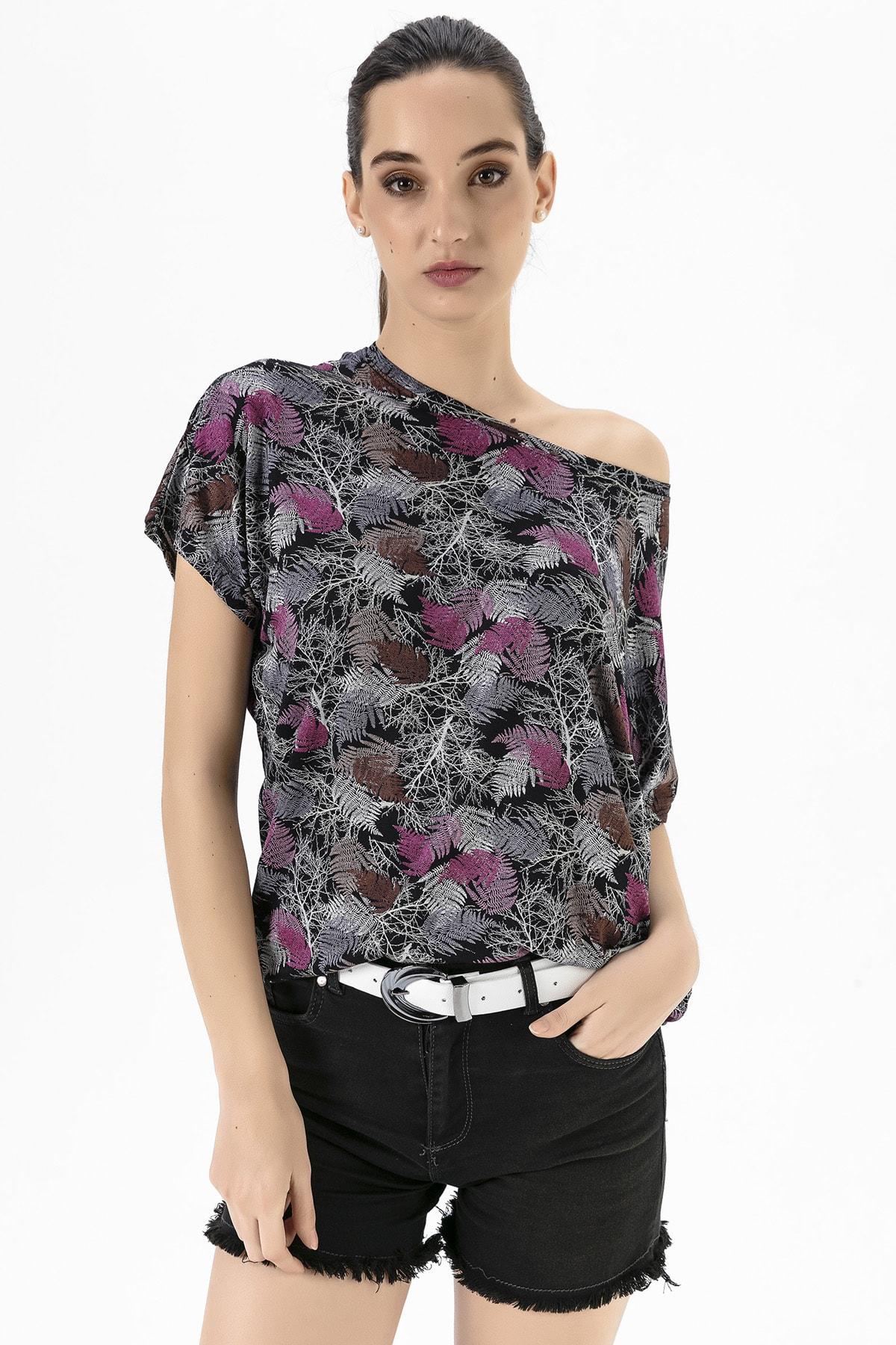 EMJEY Kadın Yaprak Desen Düşük Kol T-Shirt She020Y020001 2