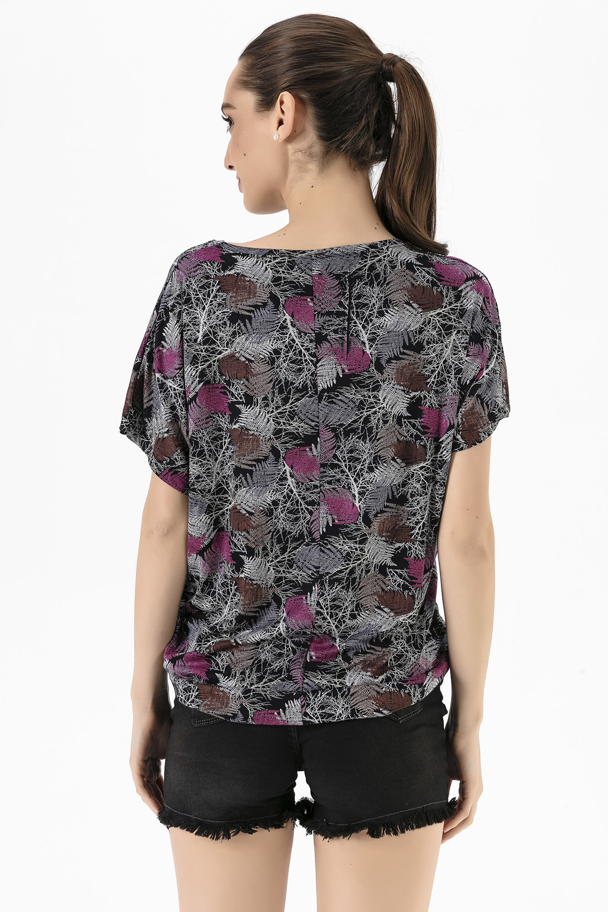 EMJEY Kadın Yaprak Desen Düşük Kol T-Shirt She020Y020001 4