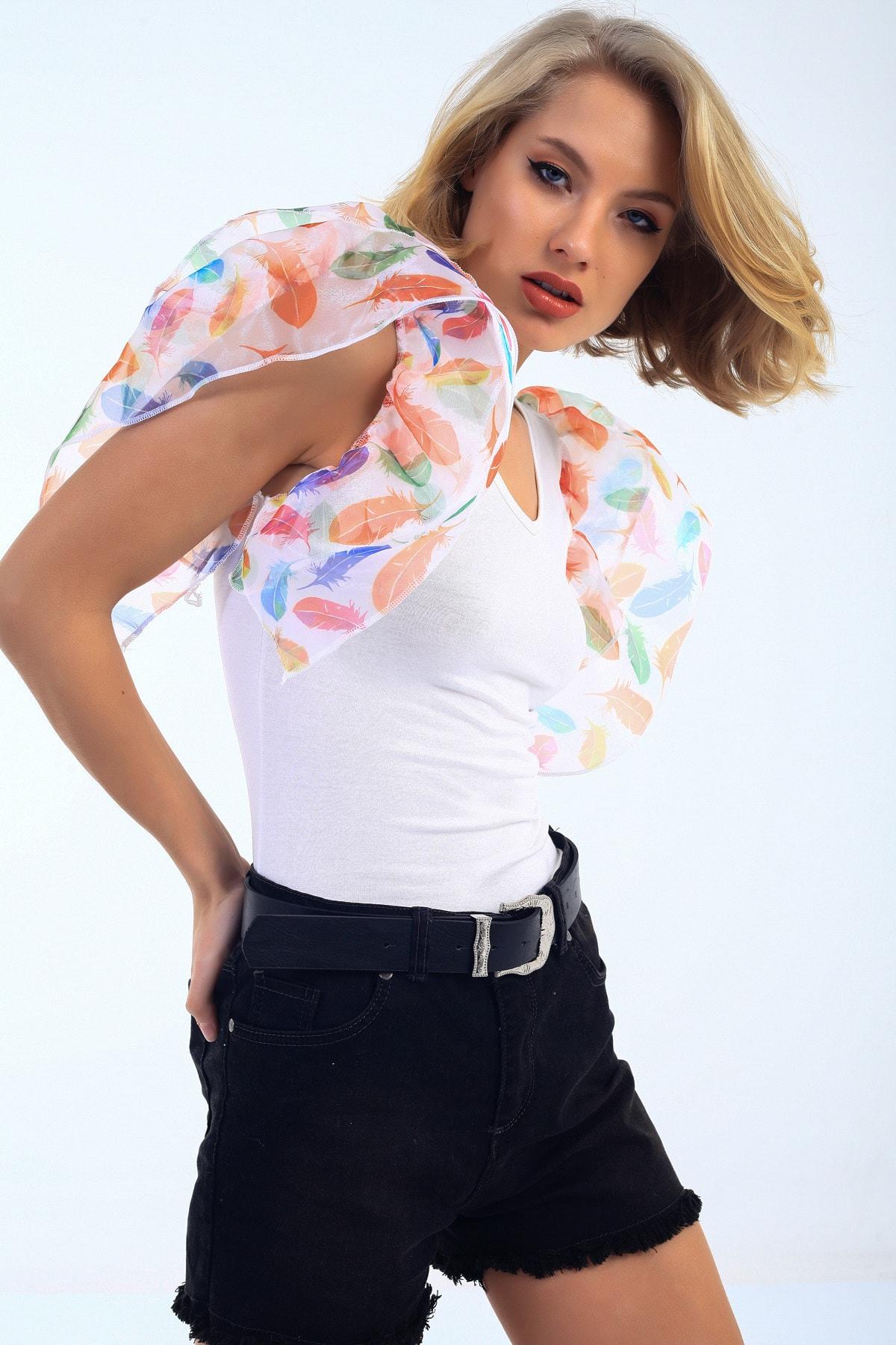 EMJEY Kadın Beyaz Yaprak Desen Organze Kısa Kol Bluz She020B010319 0