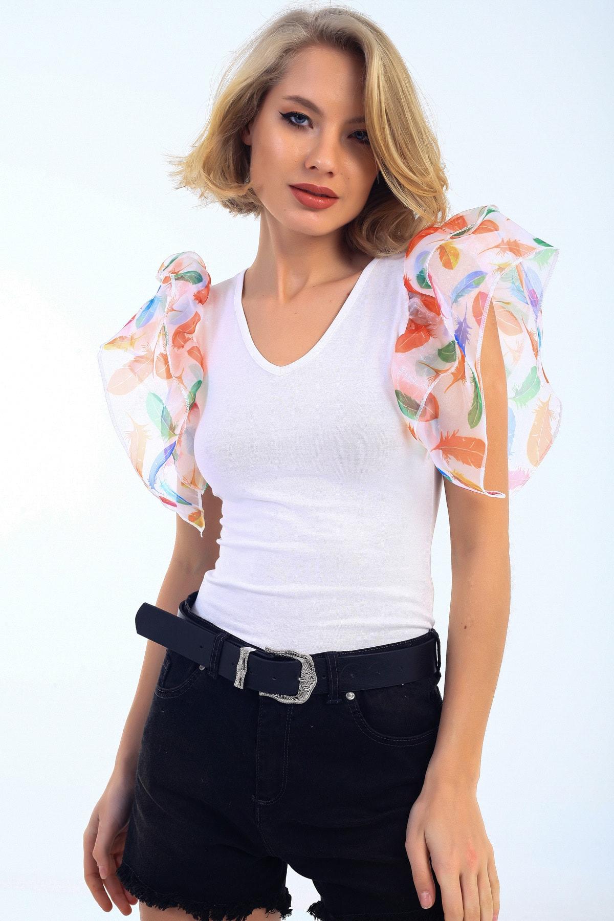 EMJEY Kadın Beyaz Yaprak Desen Organze Kısa Kol Bluz She020B010319 1