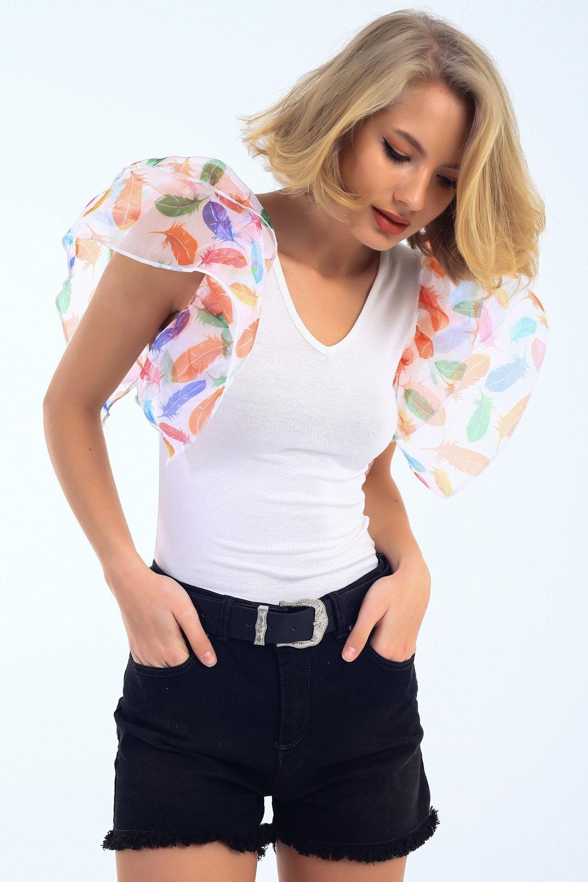 EMJEY Kadın Beyaz Yaprak Desen Organze Kısa Kol Bluz She020B010319 3
