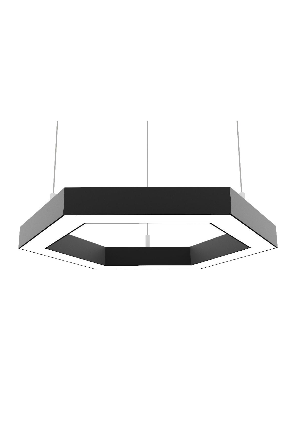 Hexagon (siyah Kasa-beyaz Işık) Led Avize