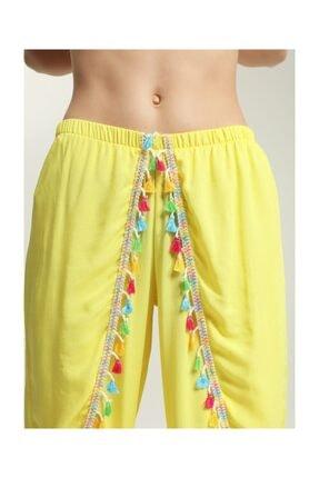 Suwen Kadın Sarı Cuba Pantolon Pareo 2