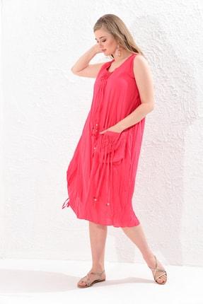 Big Free Kadın Nar Çiçeği İp Ucu Tahta Boncuk Detay Torba Cep Elbise Tb20Yb110005 1
