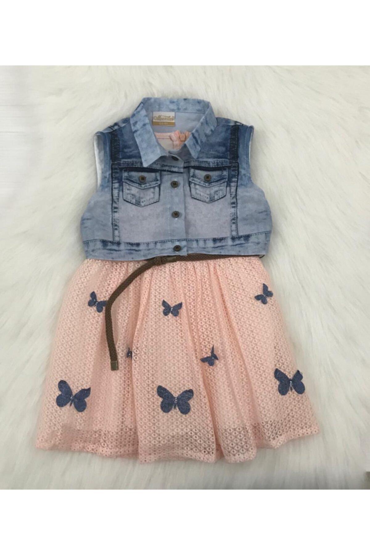 Kız Çocuk Kot Yelekli Kelebekli Elbise
