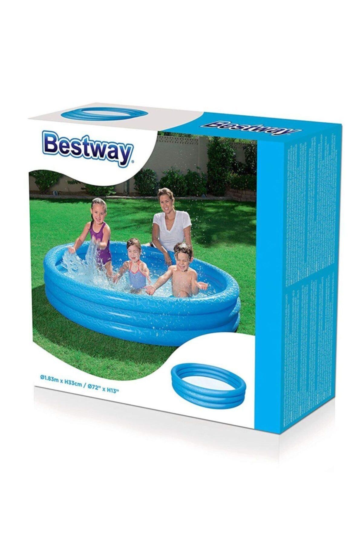 Mavi Renkli 3 Boğum Şişme Havuz Çocuk Havuzu 183x33cm 51027