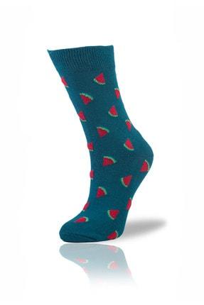 Socksafon Karpuz Dilimi Çorap - Petrol Yeşili 0