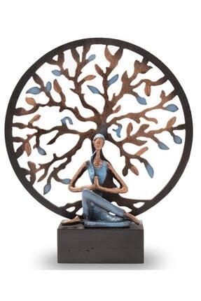 Gift Garden Yoga Yapan Kadın Mavi Küçük Hayat Ağacı Biblo 0