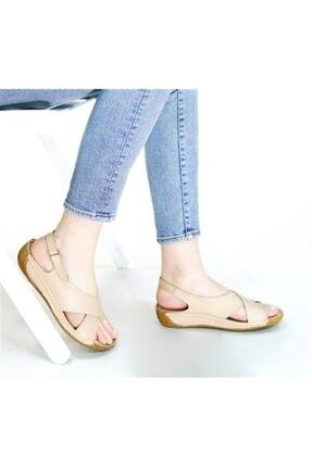 RİKEL DERİ Kadın  Hakiki Deri Bej Sandalet 1