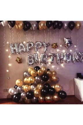 COMPANERO SHOP Happy Birthday Doğum Günü Balonu Kombini Gümüş Gold 0