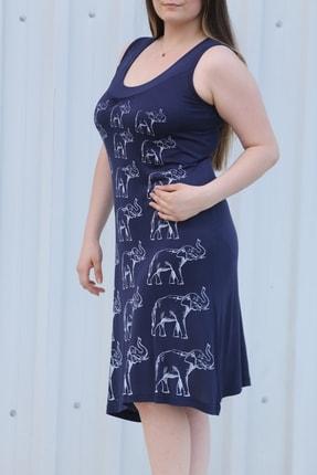 MGS LİFE Kadın Lacivert Baskılı Askılı Büyük Beden Elbise 1