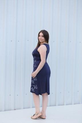 MGS LİFE Kadın Lacivert Baskılı Askılı Büyük Beden Elbise 2