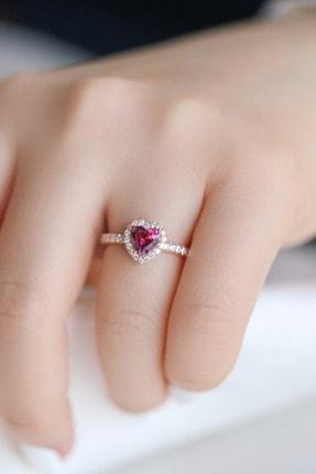 Crystal Diamond Zirconia Labaratuvar Pırlantası 1 Carat Tektaş Kalp Yakut Yüzük 1