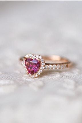 Crystal Diamond Zirconia Labaratuvar Pırlantası 1 Carat Tektaş Kalp Yakut Yüzük 3