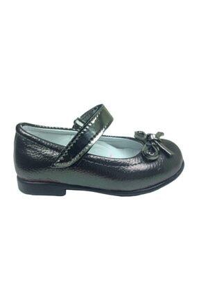 ORTAÇ Tıpış Tıpış Ilkadım Platin Rugan Bıyık Fiyonk Kız Çocuk Babet Ayakkabı Içi % 100 Deri Abiye 0