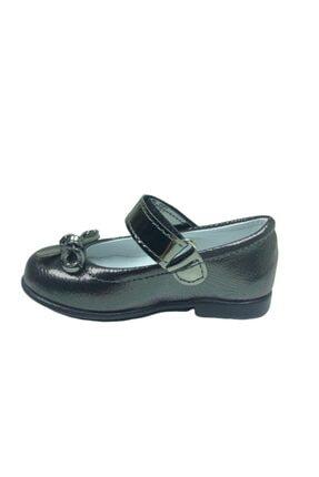 ORTAÇ Tıpış Tıpış Ilkadım Platin Rugan Bıyık Fiyonk Kız Çocuk Babet Ayakkabı Içi % 100 Deri Abiye 2