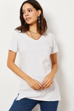Zafoni Kadın V Yaka Yırtmaçlı T-shirt 4