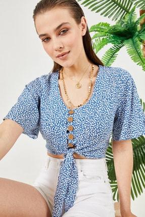 New Now Kadın Mavi Beyaz Mini Çiçekli Beli Bağlamalı Crop Bluz 20Y905105 0